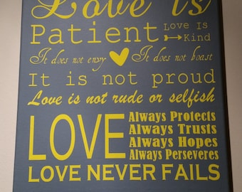 Love is Patient Wedding Canvas Art