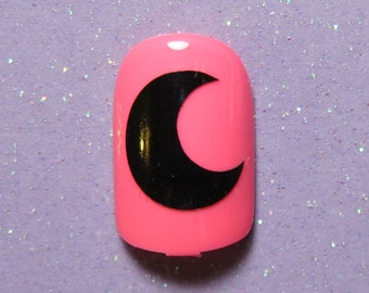 Crescent moon vinyl nail decal stickers- nail art- nail stickers (choose 25 or 50 nail decals)