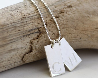 Engraved Initial Necklace - 2 Initials - Engraved Initial Charm Necklace - Engraved Mommy Necklace