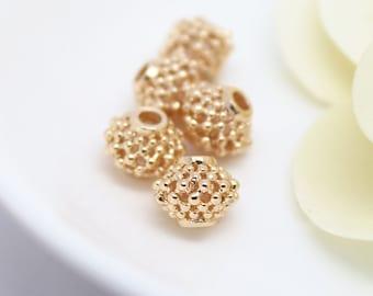 6pcs 24K Gold filled Brass Hollow Lantern Beads (#10001091)