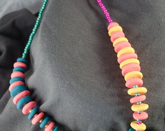 Pink, yellow, and teal necklace - Lehua Lei