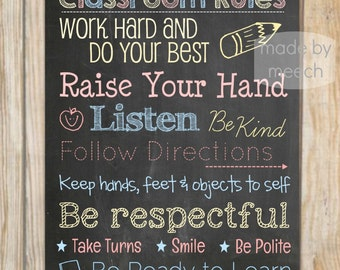 16x20 Classroom Rules Poster- Instant Download