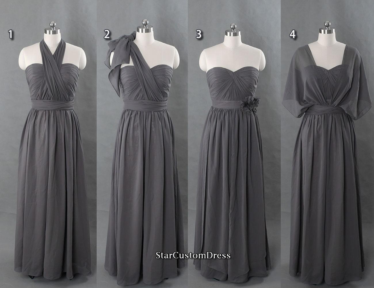 Dark grey bridesmaid dress long chiffon by starcustomdress for Dark grey wedding dresses
