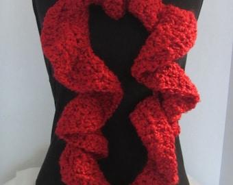 Red Crochet Scarf, Crochet Scarves Women, Hand Crochet Scarf, Chunky Crochet Scarf, Crochet Scarf Ruffle, Ruffle Scarf, Crochet Ruffle Scarf