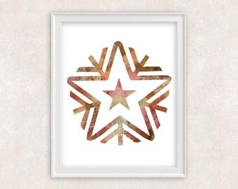 Snowflake Art Print - Watercolor Art - Home Decor 8x10 PRINT - Item #730A