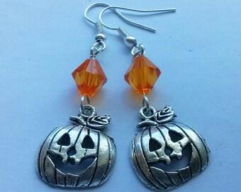 Halloween Earrings , Jack-o-lantern Earrings , Pumpkin Earrings , Halloween Jewelry , Halloween Jewellery , Handmade Jewelry , Samhain