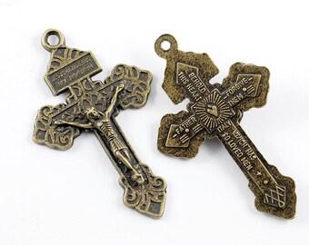Pardon Crucifix Antique Bronze Metal Large Pendant Rosary Parts Supplies