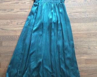 Teal Deep V Floor Length Dress with Flutter Sleeve