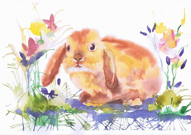 Bunny Watercolor Painting Easter Art Animals Prints Bunny