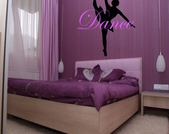 Dance Custom Wall Decal - Choose Colors, girls room decor, ballet decor, ballerina decal, ballet decal, ballerina decor, dancing art