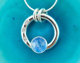 Silver Moonstone Ring Pendant