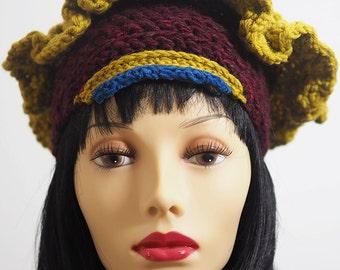 FABIENNE Burgundy hat, Ready to ship, Small head hat, Chunky knit hat, Ruffle hat, Marsala crochet crown, Teen hat, OOAK Fashion knit hat