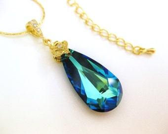Bermuda Blue Swarovski Crystal Teardrop Gold Necklace Wedding Jewelry Bridesmaid Gift Bridal Necklace Bridesmaid Necklace Blue Jewelry(N001)