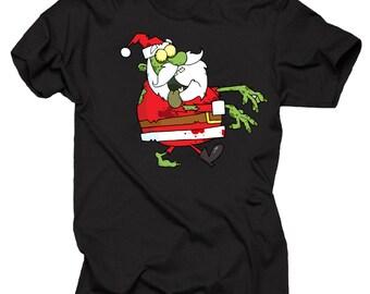 Zombie Santa Claus T-Shirt Funny Christmas Party Tee Shirt