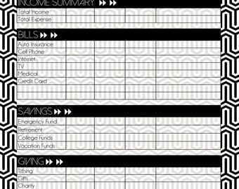 Black and White Modern Monthly Budget Printable