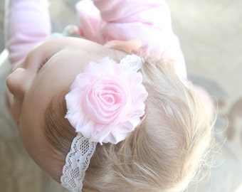 Light pink shabby chic flower headband with white lace