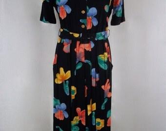 Vintage 1980's - 'Mandy Marsh' Black and Floral Print Belted Day Dress - UK Size 10