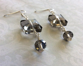 Handmade silver earrings with large crystals; large grey crystal dangle silver earrings; crystal dangle earrings; bling earrings