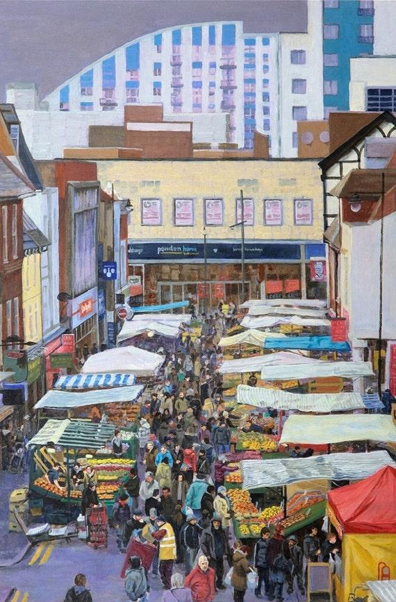 Crowds on Surrey Street, print A4