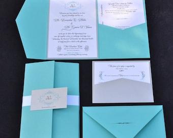 Blue Wedding Invitation - Pocket Fold Wedding Invitation- ANY COLOR -Pocket Invite- Unique Wedding Invitation- SAMPLE