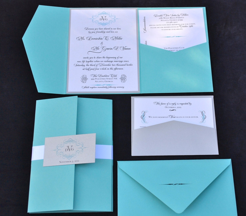 Wedding Invitations With Pockets: Blue Wedding Invitation Pocket Fold Wedding Invitation ANY