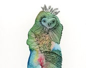 Owl art print - No. 9 - Watercolor and ink Archival Owl Print in Subtle Peaceful fresh spring Colors Aqua Green Amber 5x7 matted image
