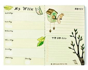 My Week - Calendar Notepad Mousepad - perpetual weekly calendar weekly schedule notepad