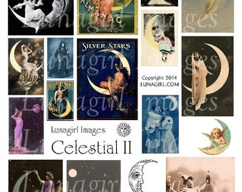 CELESTIAL 2, MOON digital collage sheet DOWNLOAD vintage images crescent moon pictures Victorian ladies women ephemera postcards altered art