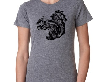 Cute Squirrel Tshirt Womens Screen Printed Shirts Woodland Animal Print Squirrels Nature Summer Ladies Fashion