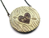 Personalized Couple Necklace, Faux Bois Jewelry. Custom Initial, Necklace. Woodgrain Pendant, Woodland Wedding, Heart Necklace, Wife Gift