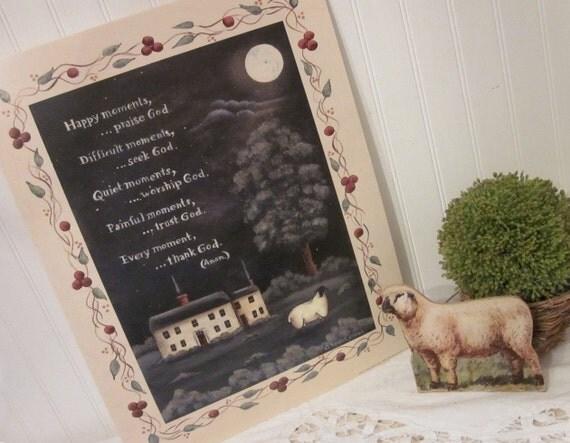 THANK GOD Spiritual Folk Art Pastoral Sheep Print by Donna Atkins