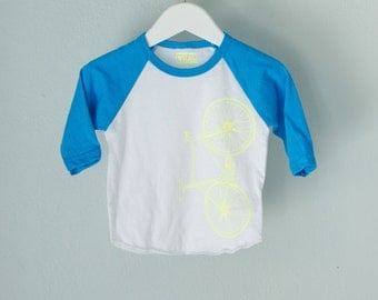 toddler 2T FIXIE BASEBALL tee - neon BLUE kids long sleeve bicycle shirt bike