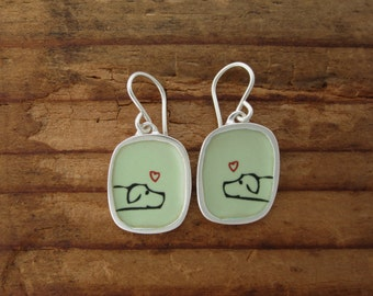 Dog Earrings - Enamel and Sterling Silver Puppy Earrings