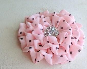 Light PInk Black Polka Dot Flower Hair Clip.Brooch.Pin. headpiece.bridesmaid.Pastel Pink.chiffon flower.peony pink.petal pink.hair accessory