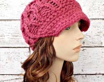Knit Hat Womens Hat Pink Newsboy Hat Pink Hat - Amsterdam Beanie Raspberry Pink Newsboy Hat Knit Hat Womens Accessories - READY TO SHIP