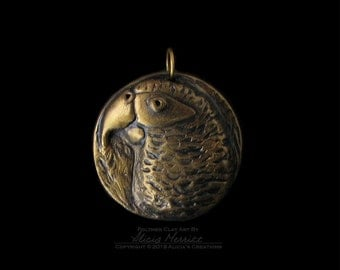 Unique African Grey Gray Parrot Exotic Bird in Antique Gold Finish Clay Art Medallion Pendant (no chain or cord)