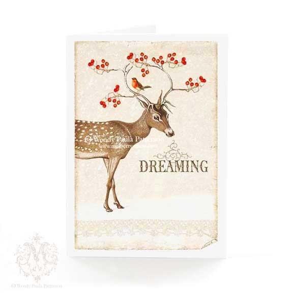 Deer, Christmas card, holiday card, reindeer, dreaming of a white Christmas, antlers, red berries, robin, vintage style, greeting card