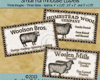 Sheep Wool Farmhouse Label Printables - Primitive Rustic Sheep Label - Woolson Bros., Woolen Mills, Homestead Wool Co. - PDF or JPG File