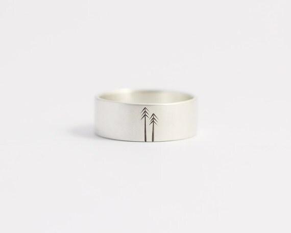 Wedding Band Wedding Ring Sterling Silver Woodland Wedding Mens Wedding Ring 8mm