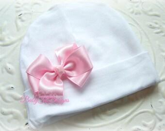 Newborn Hat. Baby Beanie. Newborn Hospital Hat. Infant Hat. Baby Beanie with Bow. Newborn Cap. Girl Beenie More Color 2 SIZES #hospitalhat
