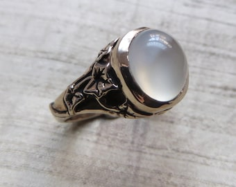 The Ivy Ring in White Moonstone and Bronze