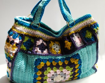 Weekend bag, granny square bag, tote bag, crochet