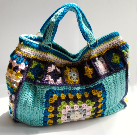 Granny Square Tote Bag : Weekend bag granny square bag tote bag crochet by KristisTwist