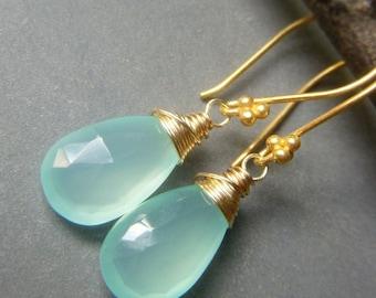 Aqua Chalcedony Earrings on Goldfill, Wirewrapped Gemstone Minimalist Briolette Dangle, Simple Blue Teardrop Earrings