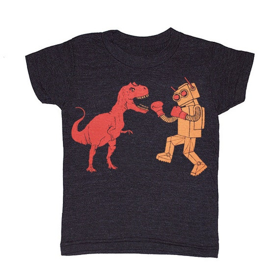KIDS Dinosaur vs Robot - Tshirt Awesome Dino Funny Cool Retro Battle Royal Boxing T-shirt Boy Girl Youth Toddler Children Black Tee Shirt