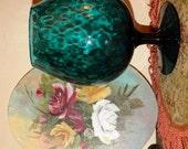 Teal Green Glass stemware 1960's Vintage Art Glassware Blueish Bowl Vase, Teal, Retro 60's Home Decor, classic Mod style design 79b