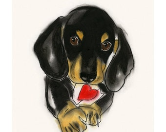 "Valentine's Day Dachshund Dog Art  - Sausage Dog - Doxie Dog Art Drawing Print 4"" X 6"" print - 4 for 3 SALE"