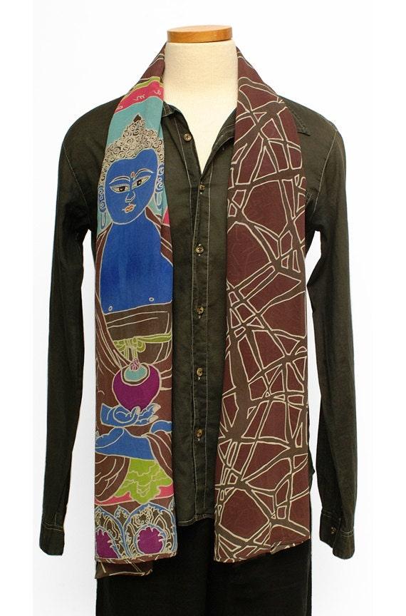 Buddha Scarf, Batik silk Scarf, Art of buddha, Unique gifts for men, boyfriend gift, dad gift anniversary, Gifts for Him,  boyfriend scarf