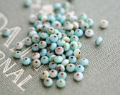 Baby Tears - Premium Czech Glass Beads, Opaque Turquoise, Picasso Finish, Rondelle Mix 5x3mm - Pc 30
