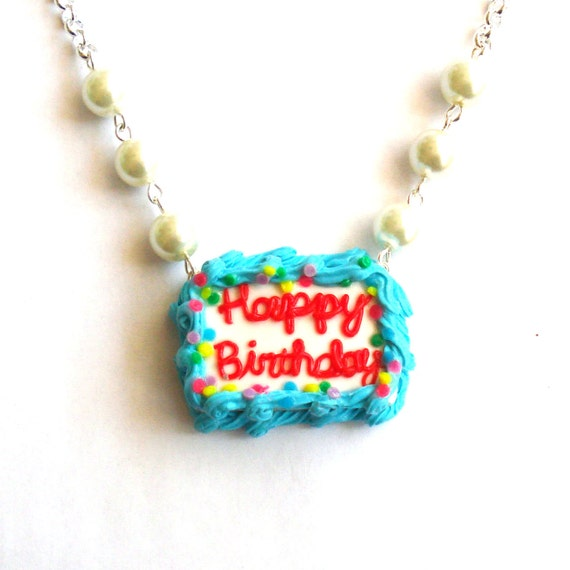 birthday cake necklace happy birthday necklace by
